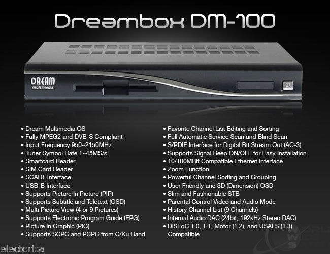 DREAMBOX DM100 FTA Free to Air SATELLITE RECEIVER DM-100 500