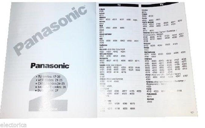 UNIVERSAL REMOTE CONTROL CONTROLLER PANASONIC,GE,TV,VCR,TOSHIBA