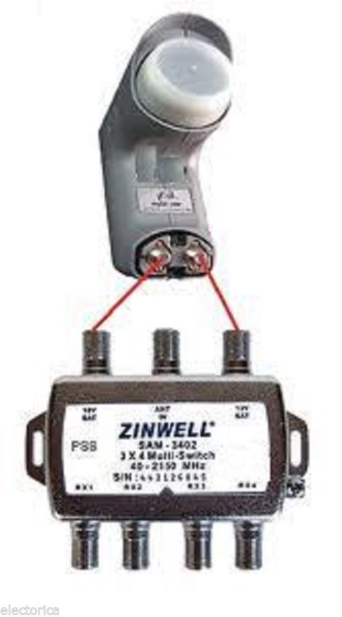 3x4 Zinwell Switch Lnb Sw34 Directv 2x4 Bell Dish Network